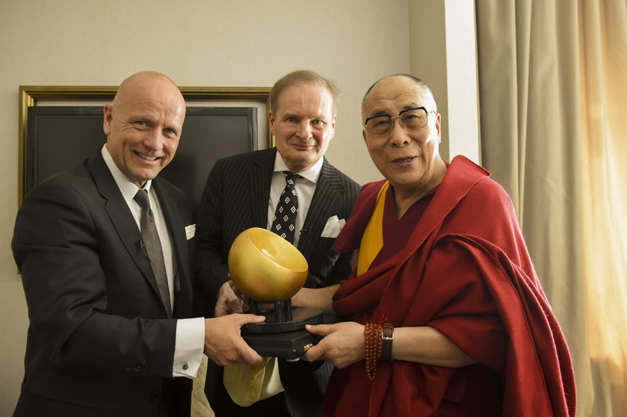 His Holiness the Dalai Lama receiving the German Speakers' Award for 2014 in Frankfurt, Germany on May 16, 2014. Photo/Manuel Bauer. Source www.dalailama.com