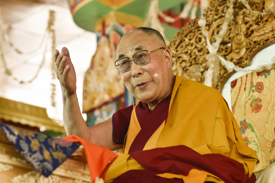 His Holiness the Dalai Lama speaking during the 33rd Kalachakra Empowerment in Leh, Ladakh, J&K, India on July 11, 2014. Photo courtesy/Manuel Bauer