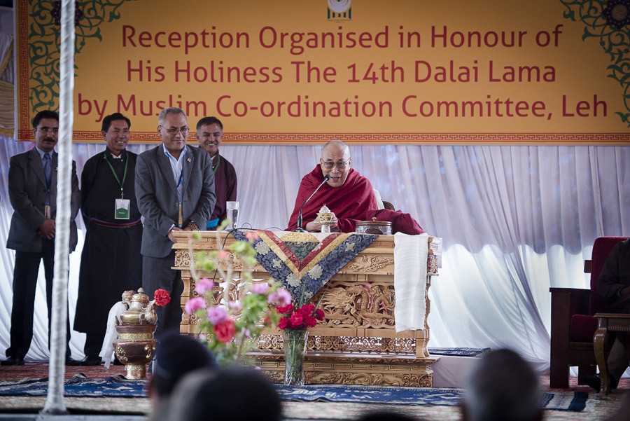 His Holiness the Dalai Lama speaking at a meeting with the Muslim Co-ordinating Committee in Leh, Ladakh, J&K, India on July 16, 2014. Photo courtesy /Tenzin Choejor/OHHDL