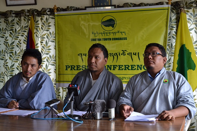 TYC Gen. Secretary Tashi Lamsang, (r) President Jigme (c) and Vice President Tamdin Sichoe (l) at the press conference, McLeod Ganj, Aug. 29, 2014/ (Photo courtesy: Phayul, Kunsang Gashon)