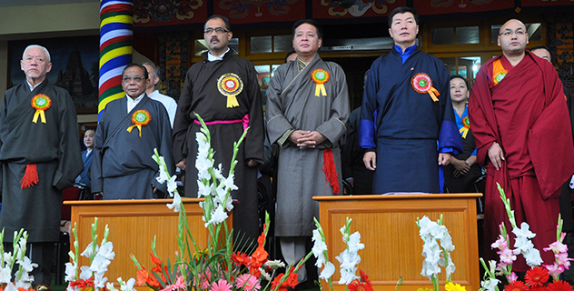 Mr Ravi Thakur (3rd left), Member of Legislative Assembly and Vice-Chairman of the Government of India's National Commission for Scheduled Tribes, with leaders of the three pillars of Tibetan democracy on the occasion of the 54th Tibetan Democracy Day in Dharamshala, India, on 2 September 2014. (Photo courtesy DIIR Photo)