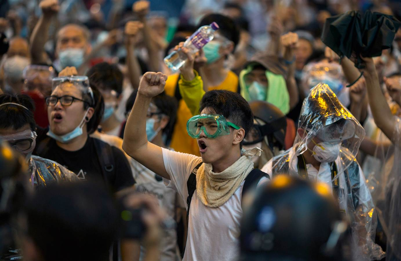 Students shout slogans during a protest outside the Central Government Offices and Legislative Council complex in Hong Kong, on Sept. 28.