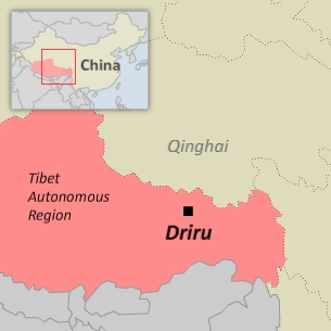 A map of Driru county in Nagchu (Naqu) prefecture in Tibet.