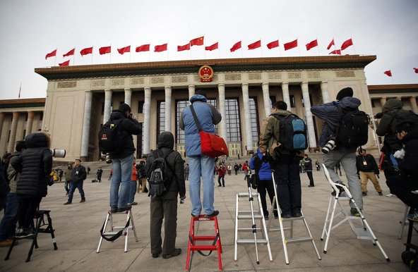 Journalists waiting outside the Great Hall of the People during the Chinese People's Political Consultative Conference in Beijing in March. (Photo Courtesy: Kim Kyung-Hoon/Reuters