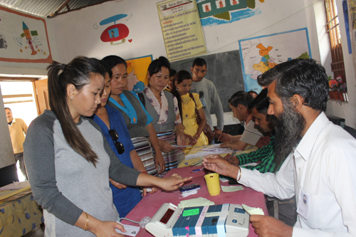 Tibetan voting in Indian election.