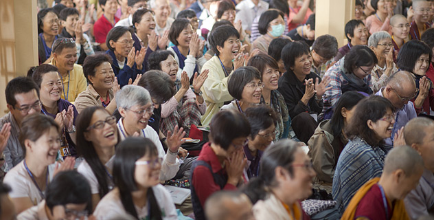 Taiwanese disciples  attending the Dalai Lama's teachings at the Main Tibetan Temple in Dharamsala, India on October 6, 2014. (Photo courtesy /Tenzin Choejor/OHHDL)