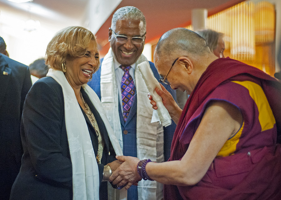 His Holiness the Dalai Lama with Birmingham Mayor William Bell and his wife during his visit to the 16th Street Baptist Church in Birmingham, Alabama, USA on October 25, 2014. (Photo courtesy/Liesa Cole, OHHDL)