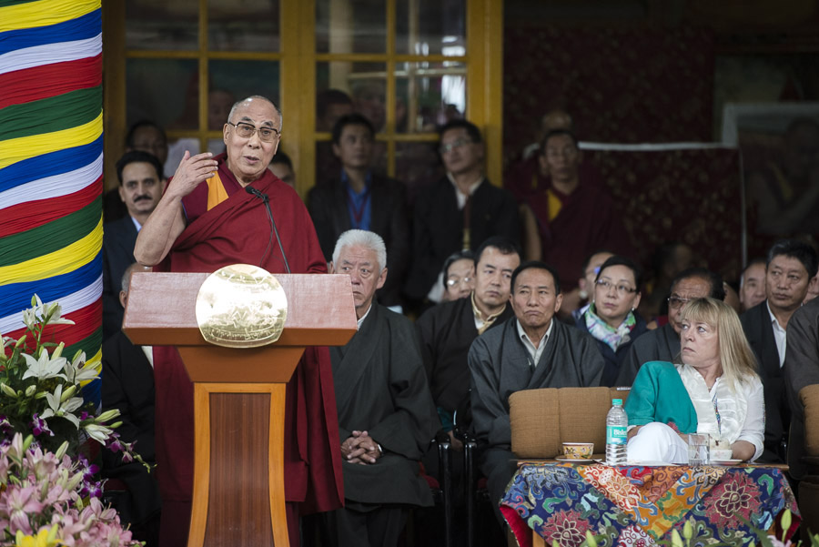 His Holiness the Dalai Lama speaking during ceremonies to mark 25 years since he received the Nobel Peace Prize at the Main Tibetan Temple in Dharamsala, India on October 2, 2014. (Photo courtesu / Tenzin Choejor / OHHDL