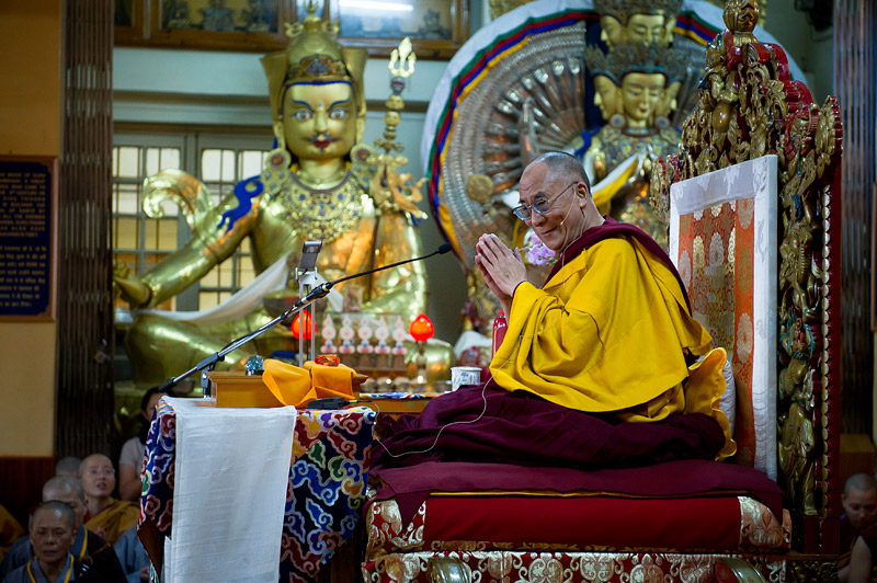 The Dalai Lama, at the Tsuglakhang, Dharamsala, India.