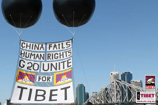 Banners draw attention to Tibet campaign at Brisbane G20 summit