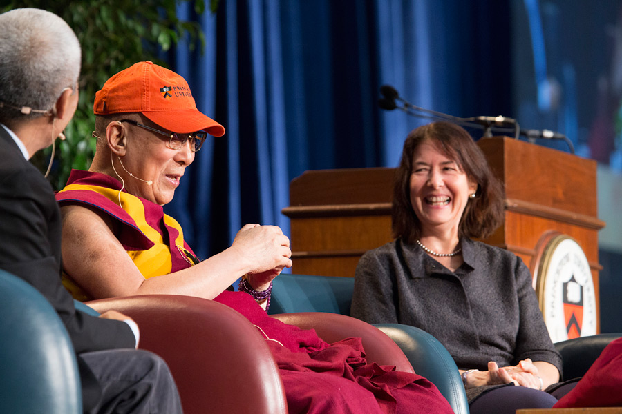 His Holiness the Dalai Lama, with Dean of Religious Life and the Chapel Rev. Dr. Alison Boden, speaking during his talk entitled 'Develop the Heart' at Princeton University's Jadwin Gym in Princeton, New Jersey on October 28, 2014. (Photo courtesy/Denise Applewhite, OHHDL)