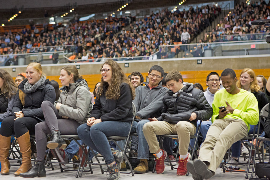 Some of the more than 4,000 people listening to His Holiness the Dalai Lama speaking at Princeton University's Jadwin Gym in Princeton, New Jersey on October 28, 2014. Photo courtesy/Denise Applewhite, OHHDL)