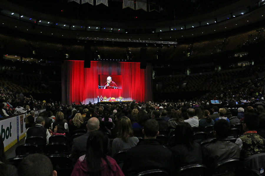 A view of the stage at TD Garden, venue for His Holiness the Dalai Lama's talk on 'Educating the Heart and Mind' in Boston, MA, USA on November 1, 2014. (Photo courtesy /Tsultrim Palden, OHHDL)