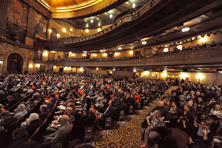 Some of the 3,000 people attending the second day of His Holiness the Dalai Lama's two day teaching at the Beacon Theater in New York, NY, USA on November 4, 2014. (Photo courtesy/Sonam Zoksang, OHHDL)