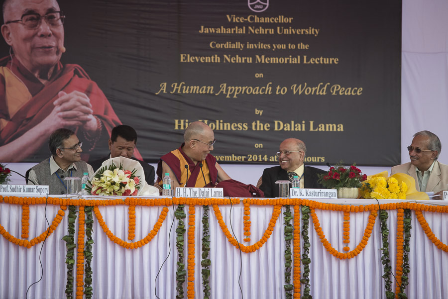 His Holiness the Dalai Lama and special guests on stage during the Eleventh Nehru Memorial Lecture at Jawaharlal Nehru University in New Delhi, India on November 20, 2014. (Photo courtesy/Tenzin Choejor/OHHDL)