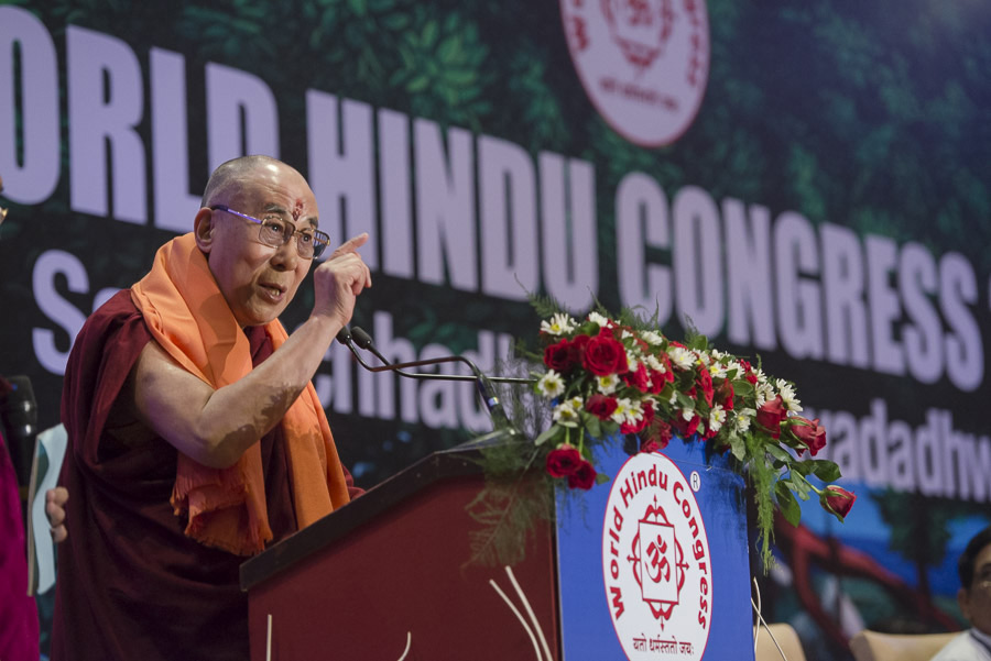 His Holiness the Dalai Lama delivering the inaugural address at the 1st World Hindu Congress in New Delhi, India on November 21, 2014. (Photo courtesy/Tenzin Choejor/OHHDL)