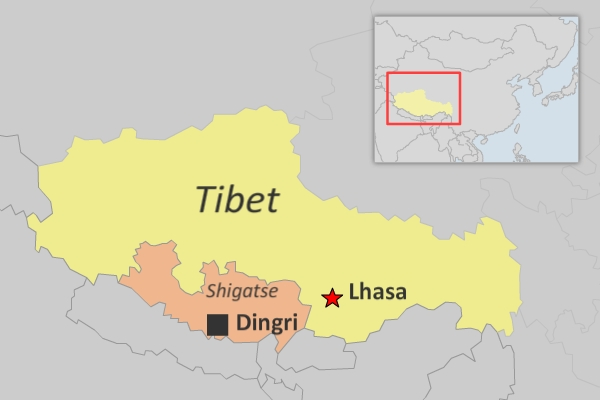 A map showing Dingri county in the Shigatse prefecture of China's Tibet Autonomous Region. (Photo courtesy: RFA)