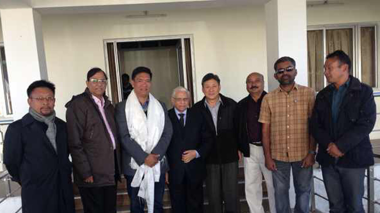 Dr. N.K. Trikha, National Convener, Mr RK Khrimey, Mr JP Sharma, Mr Sonam Norbu Dagpo, Mr Pema Khandu at the Core Group for Tibetan Cause Meets in Tawang.