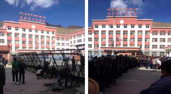 Police erect barricades to block protestors, and armed troops move in to surround the demonstrators in Labrang (Xiahe) on November 3, 2014. (Photo courtesy: ICT)
