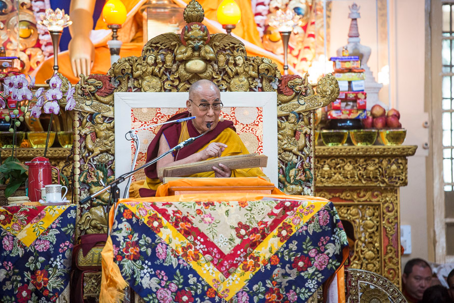 His Holiness the Dalai Lama during the first day of his four day teaching at the request of a group from Mongolia at the Main Tibetan Temple in Dharamsala, HP, India on December 2, 2014. (Photo  courtesy/Tenzin Choejor/OHHDL)