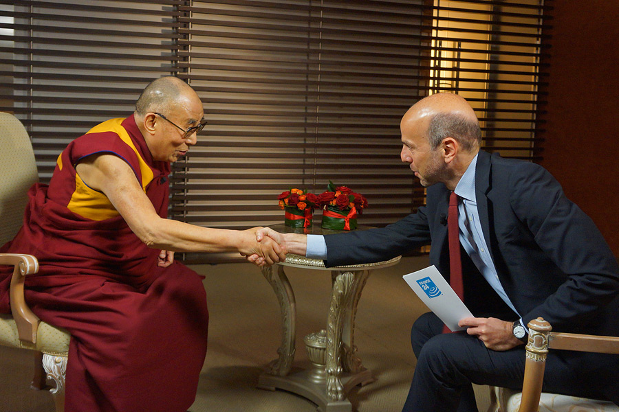Marc Perelman of France 24 interviewing His Holiness the Dalai Lama in Rome, Italy on December 13, 2014. Photo/Jeremy Russell/OHHDL