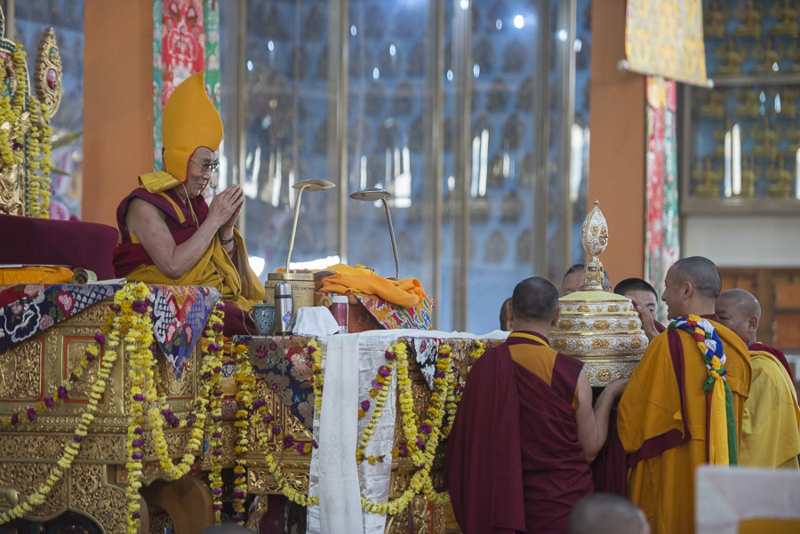 A special offering during the Long Life Offering ceremony for His Holiness the Dalai Lama at Ganden Jangtse Monastery in Mundgod, Karnataka, India on December 28, 2014. (Photo courtesy/Tenzin Choejor/OHHDL)