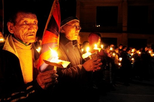 A candlelight march at Mcleod Ganj, Dharamshala