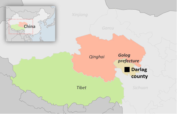 A map shows Darlag county in Qinhai province's Golog Tibetan Autonomous Prefecture. (Photo courtesy: RFA)