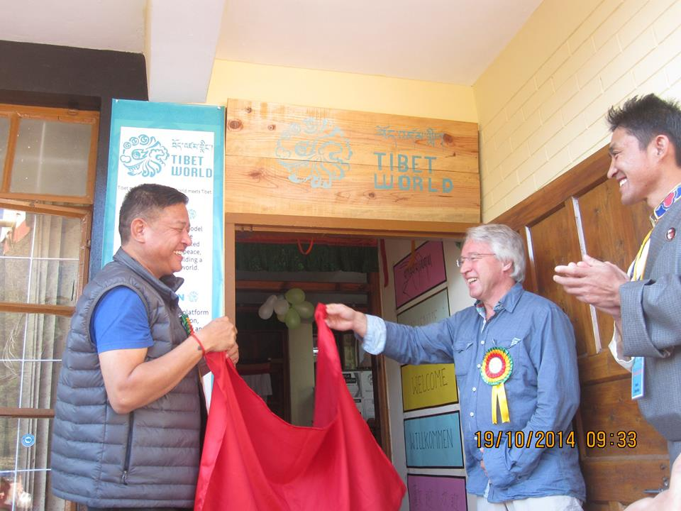 On Oct 19, 2013, the Speaker of the Tibetan Parliament-in-Exile, Mr Penpa Tsering, inaugurated the Tibet World Office, with its several sections, at a function for its formal launch. (Photo courtesy: Tibet World)