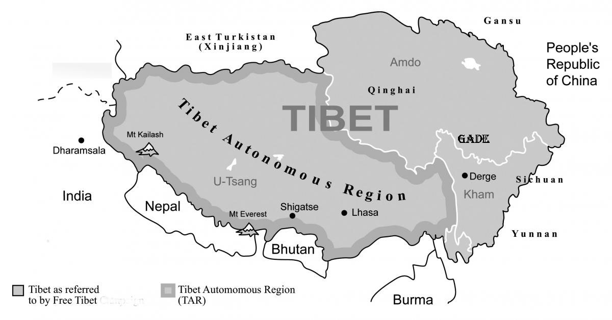 Map of Tibet, (Photo courtesy: FreeTibet)