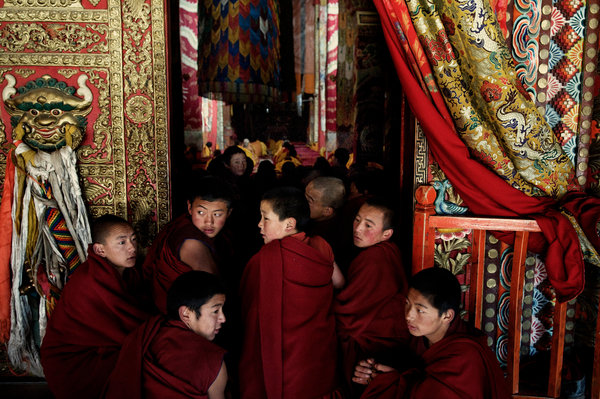 Monks at the Kirti Monastery. (Photo courtesy: NYT)