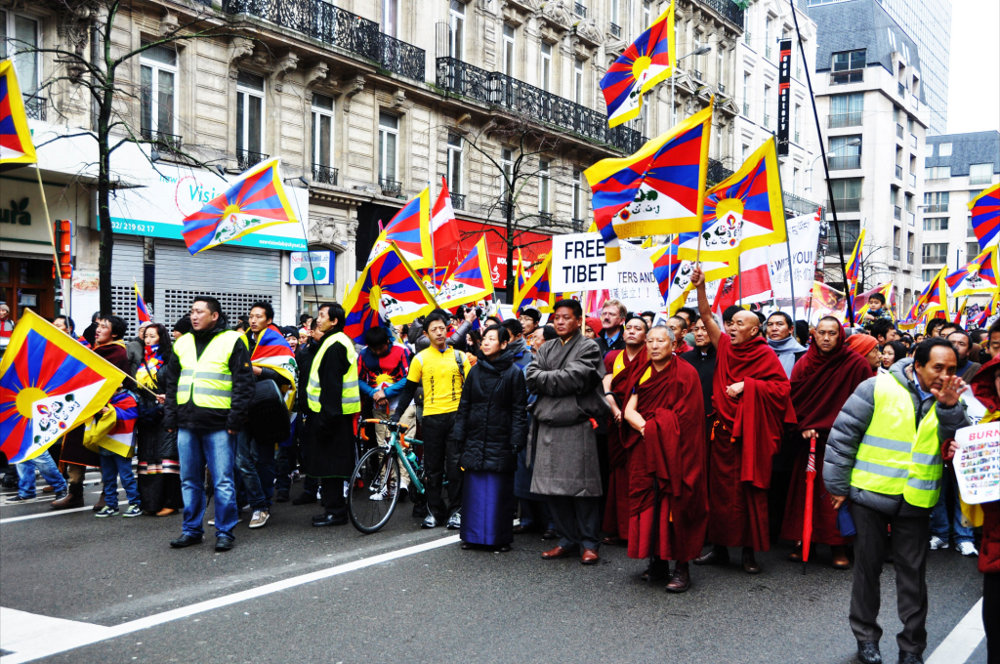 During the European Solidarity Rally in Brussels, Belgium, on 10 March 2013. (Photo courtesy: http://europe-stands-with-tibet.org)