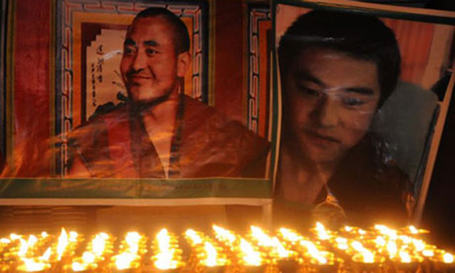A shrine to two Tibetan monks who set themselves on fire recently in protest against Chinese rule. (Photo courtesy: STRDEL/AFP)