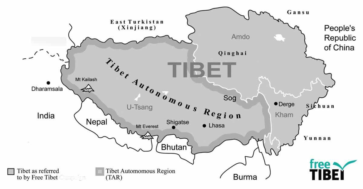 Map of Tibet. (Photo courtesy: FreeTibet)