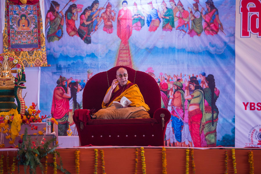 His Holiness the Dalai Lama during the final day of his teaching in Sankisa, UP, India on February 1, 2015. (Photo courtesy/Tenzin Choejor/OHHDL)