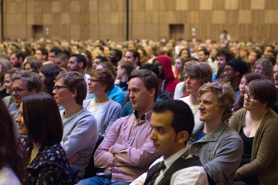 Students attending the International Student Festival in Trondheim (ISFiT) listening to His Holiness the Dalai Lama speaking at the Clarion Conference Centre in Trondheim, Norway on February 9, 2015. (Photo courtesy/foto.samfundet.no/OHHDL)