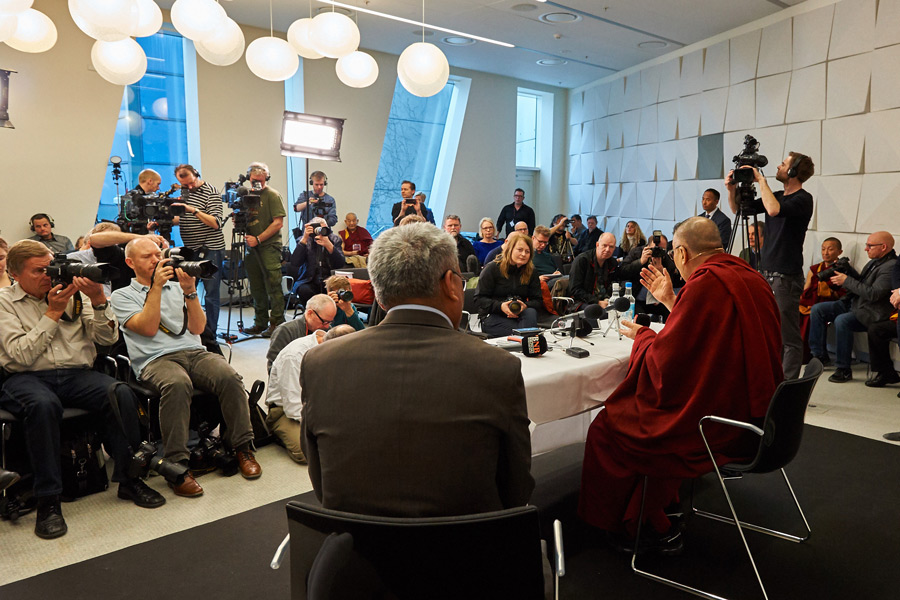 His Holiness the Dalai Lama meeting with members of the media in Copenhagen, Denmark on February 11, 2015. (Photo courtesy/Olivier Adam/OHHDL)