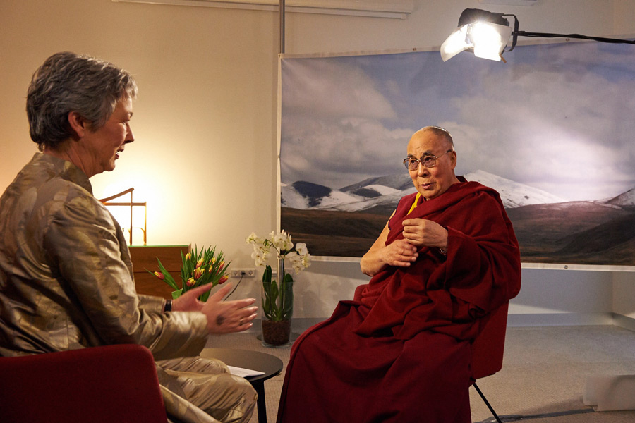 Mette Holm of Danish TV2 interviewing His Holiness the Dalai Lama in Copenhagen, Denmark on February 11, 2015. (Photo courtesy/Olivier Adam/OHHDL)