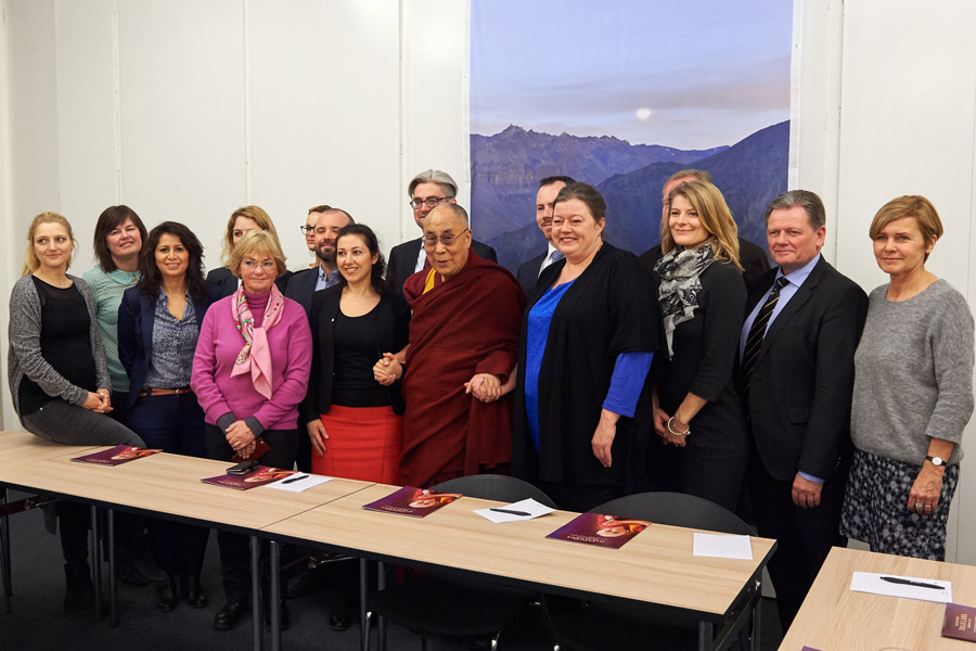 His Holiness the Dalai Lama with members of the Danish Parliament during their meeting in Copenhagen, Denmark on February 12, 2015. (Photo courtesy/Olivier Adam OHHDL)