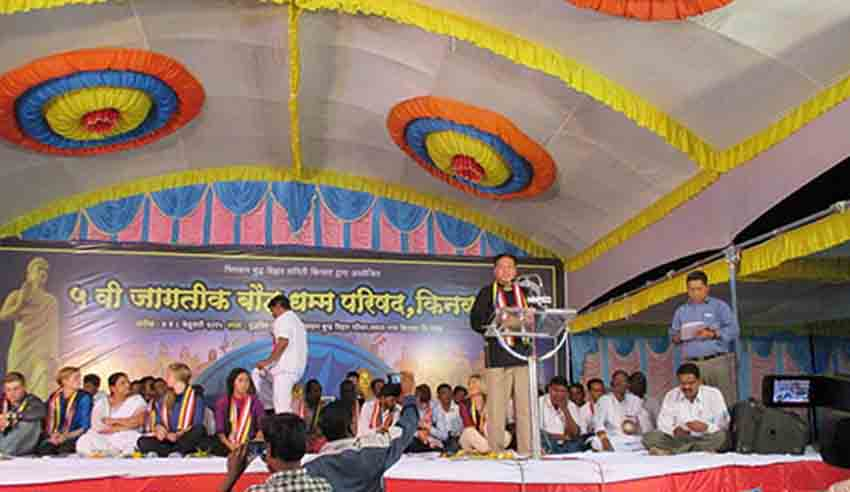 Mr. Penpa Tsering, Speaker of the Tibetan Parliament-in-Exile, speaking at the Indian Budhists Convention in Maharashtra. (Photo courtesy: tibet.net)