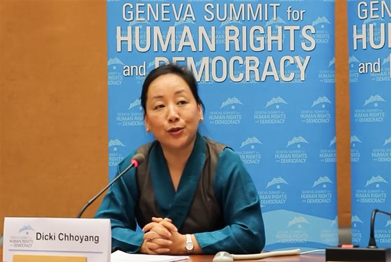 DIIR Kalon Dicki Chhoyang speaking at the opening session of the 7th Geneva Summit.