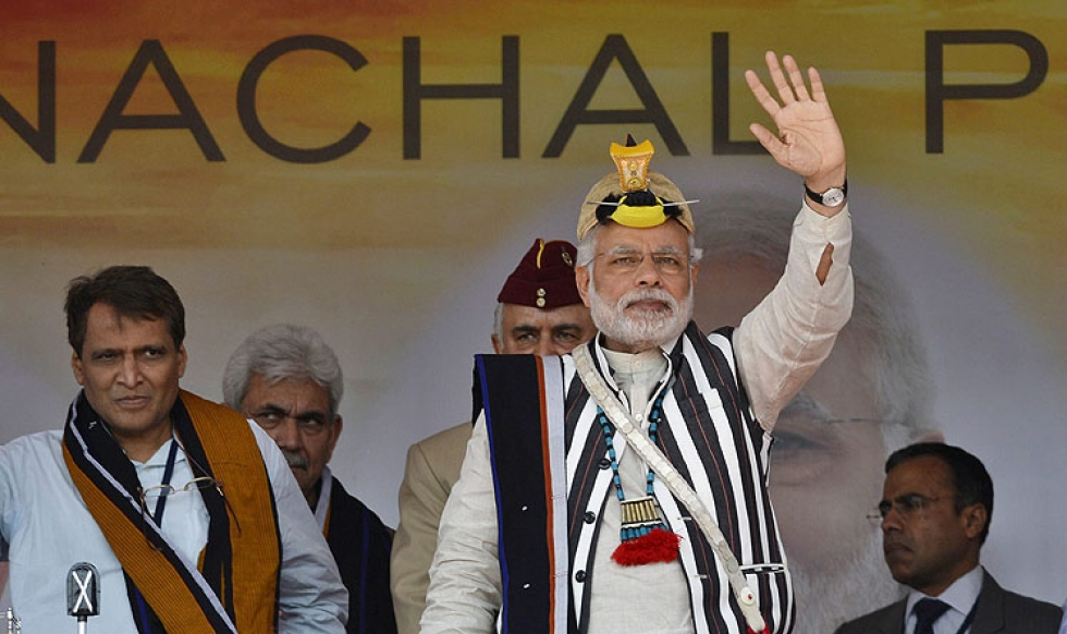 Prime minister of India Narendra Modi waves during his visit to the disputed state of Arunachal. (Photo courtesy: scmp.com)