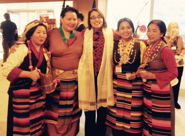 "Sarah Sewall, Under Secretary of State and Special Coordinator for Tibetan Issues, with some of the Tibetan American artists and ""Chang maidens"" during the State Department Losar reception. (Photo courtesy: savetibet.org)"