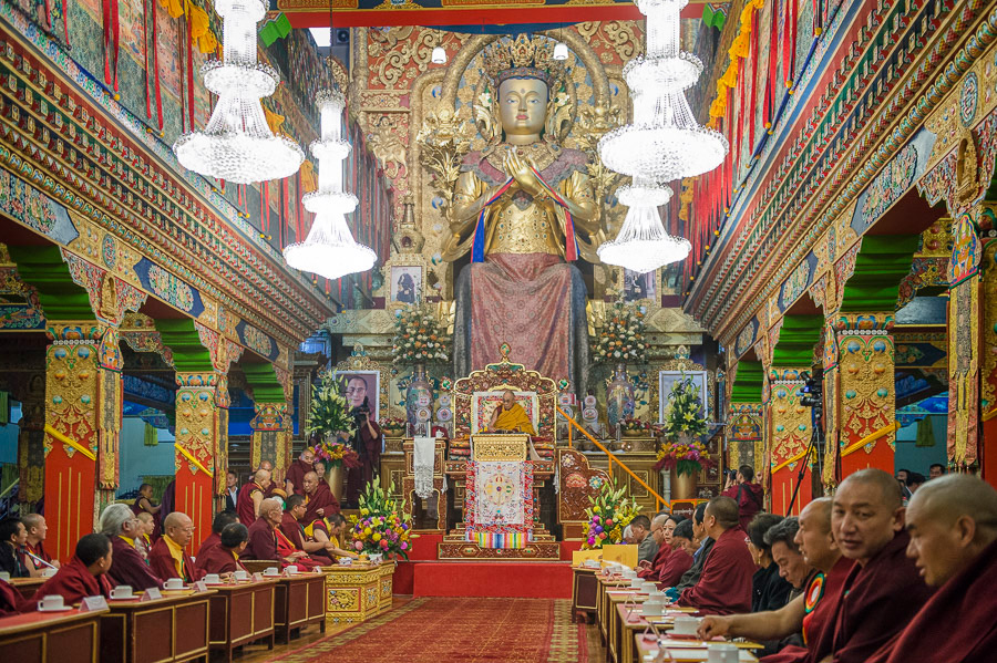 His Holiness the Dalai Lama speaking during his visit to Palpung Sherabling Monastery in Upper Bhattu, HP, India on March 11, 2015. (Photo courtesy/Tenzin Choejor/OHHDL)