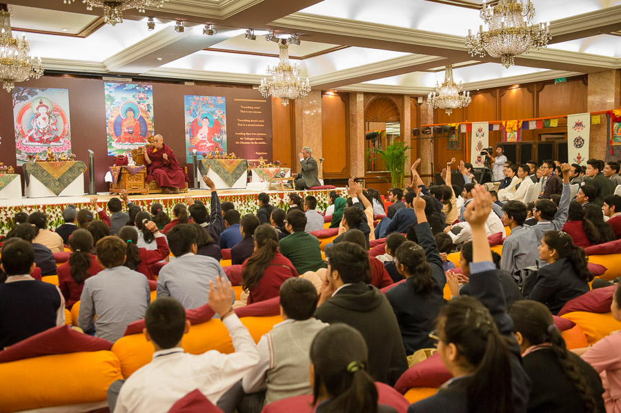 His Holiness the Dalai Lama speaking to over 150 students and 50 teachers during their interactive meeting organized by the Foundation for Universal Responsibility and PeaceJam in New Delhi, India on March 20, 2015. (Photo courtesy/Tenzin Choejor/OHHDL)