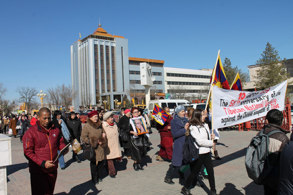 Commemoration of the 56th Tibetan uprising day in Kalmykia, Russia, on 10 March 2015. (Photo courtesy: tibet.net)