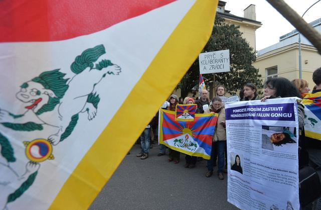 Some 300 people took part in a rally in front of the Chinese embassy in the Czech Republic's capital Prague on Mar 10 to mark the 56th anniversary of the Tibetan National Uprising.