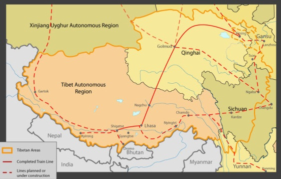 New strategic rail network to Tibet's borders. (Courtesy: savetibet.org)