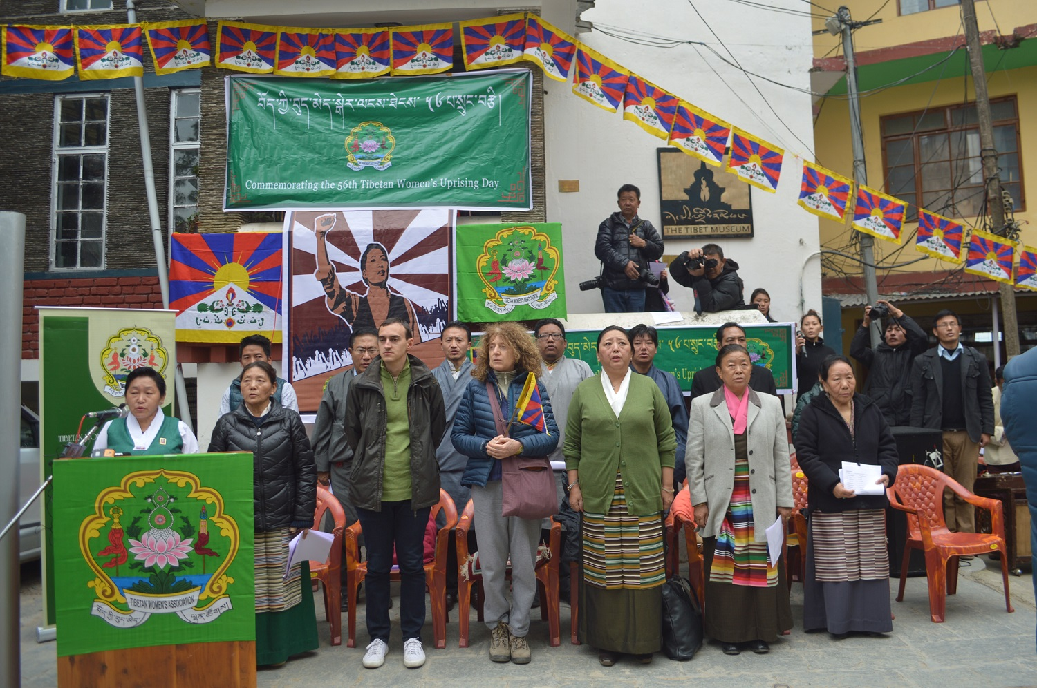 An opening function was held before the Martyrs' Pillar at the Tsuglakhang, the main Buddhist temple in town, with the exile Tibetan administration's Home Minister, Kalon Dolma Gyari, as the chief guest. (Photo courtesy: TWA)