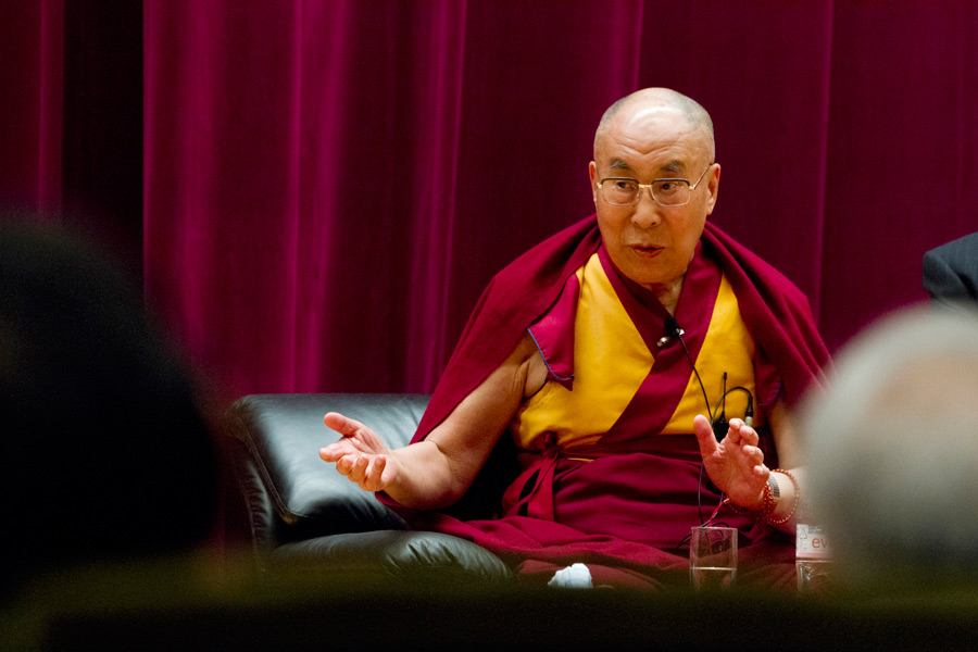 His Holiness the Dalai Lama gesturing during his talk at the Japan Doctors Association Hall in Tokyo, Japan on April 4, 2015. (Photo courtesy/Tenzin Jigmey/OHHDL)